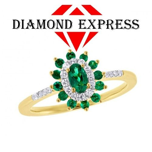 """14K Gold Marquise Cut Green Emerald & Sapphire Cluster Engagement Ring """"Mother\'s Day Gift"""". Starting at $89"""