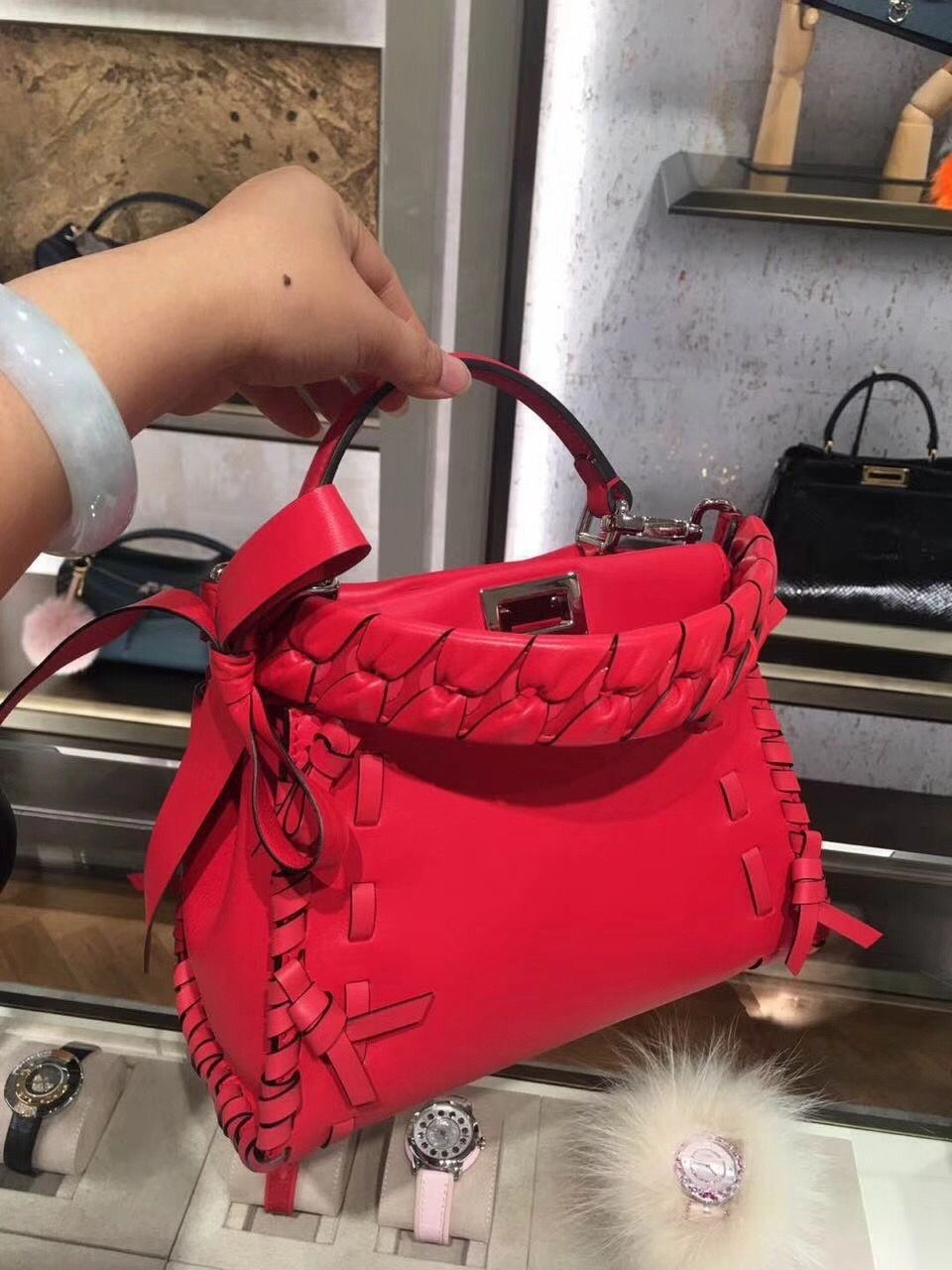 380341f827 Fendi Peekaboo Mini Bag with Leather Threading and Bows Red 2018 ...