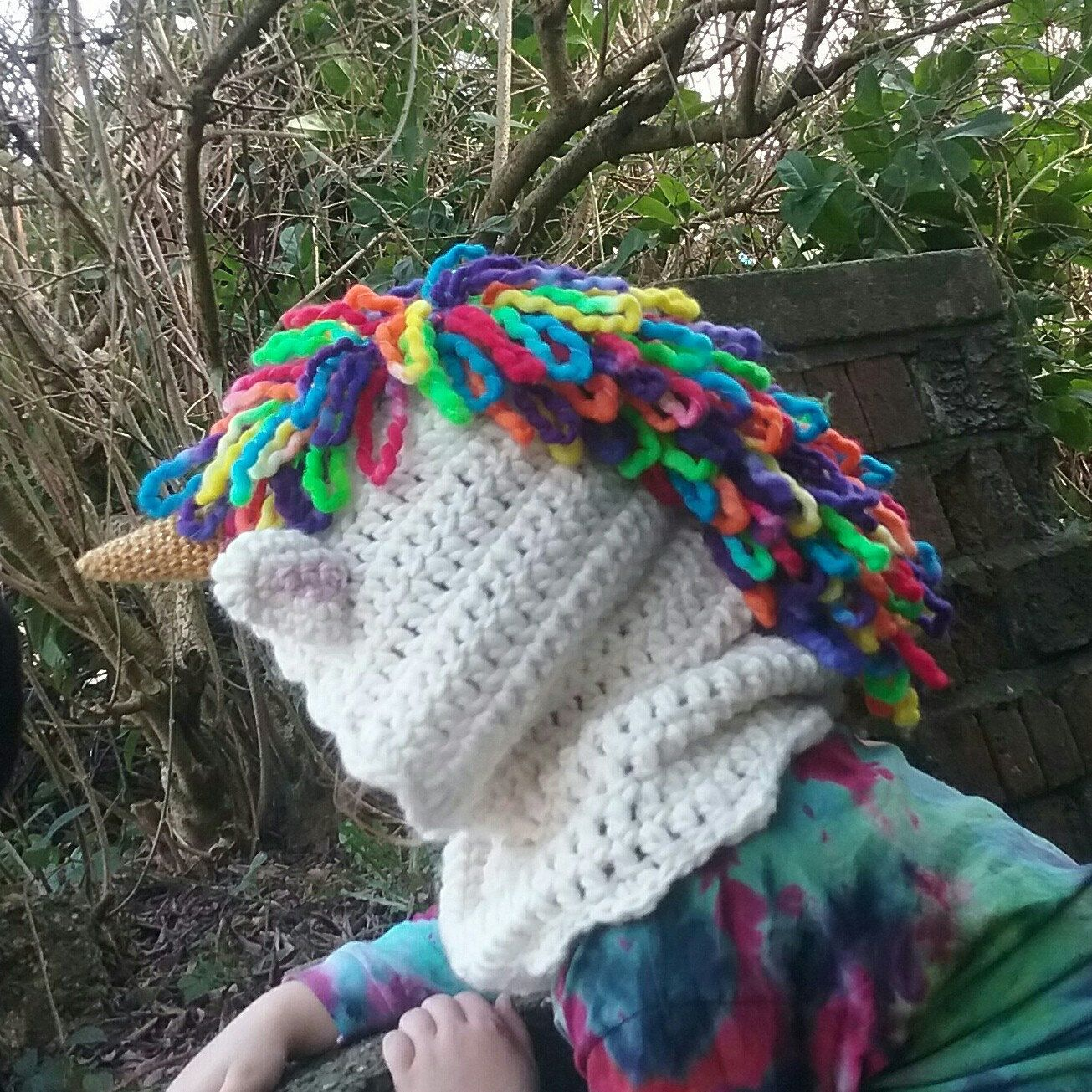 There is now an option to get a hand dyed mane added to your unicorn hoods and hooded scarves! This listing also covers any request to use hand dyed yarn as a feature on any other Fairy Tale cowl or animal hood.