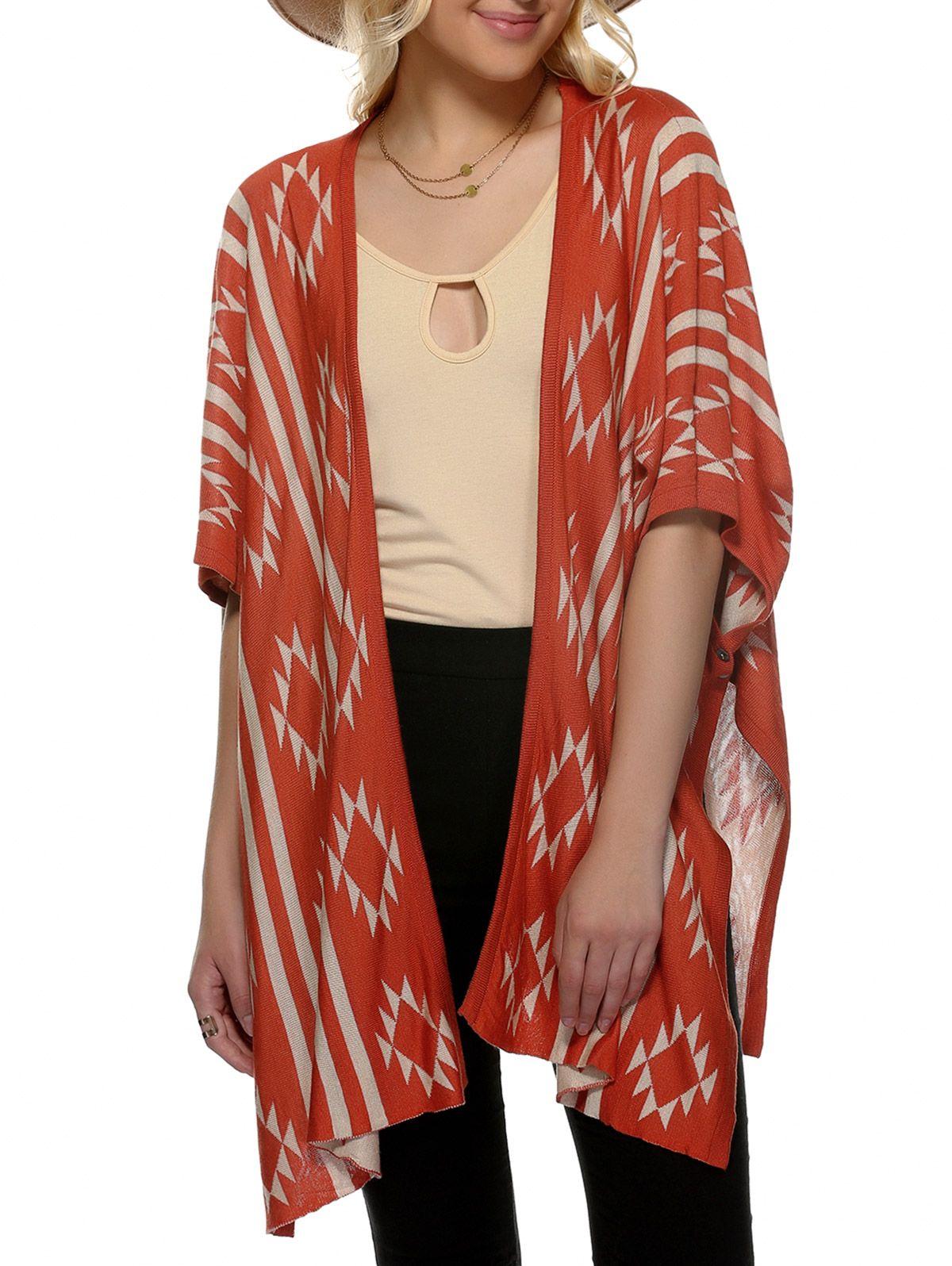 Loose Geometric Print Collarless 3/4 Sleeve Cardigan | Clothing ...