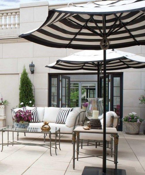 Nice Black And White Striped Patio Umbrella