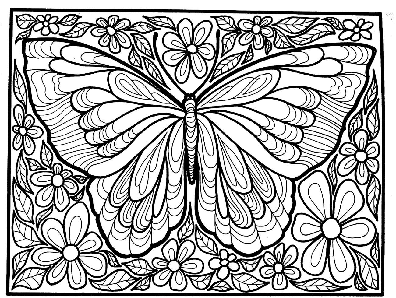 To Print This Free Coloring Page Adult Difficult Big Butterfly