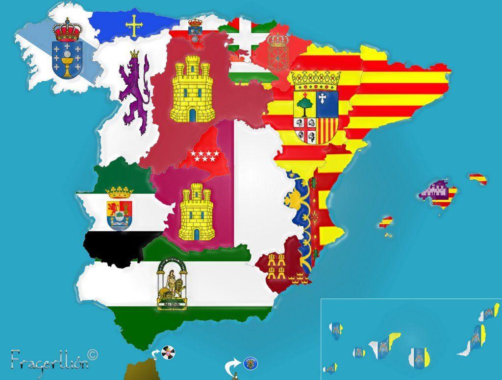 Mapa de Espaa con banderas Carte de lEspagne avec drapeaux Map