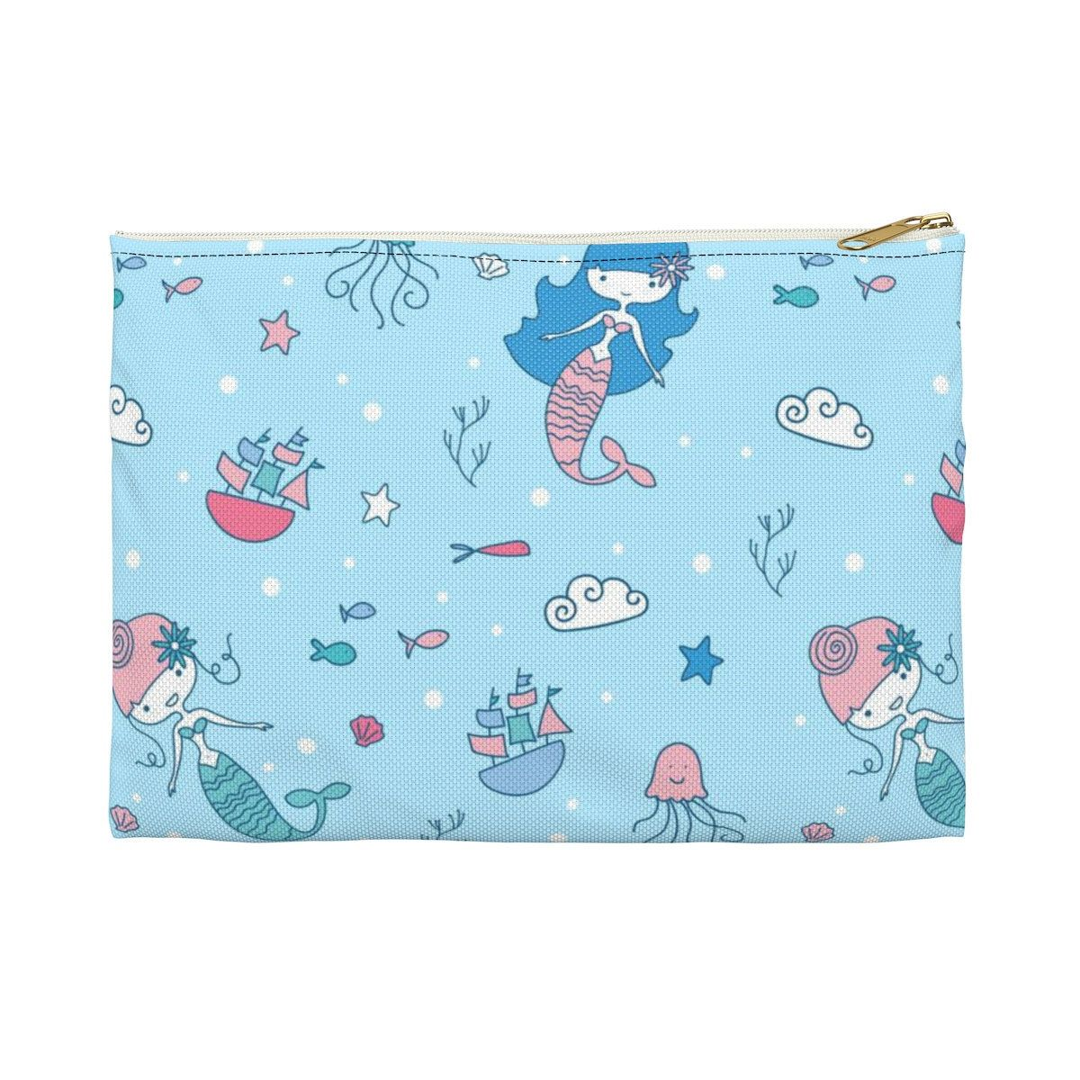 f9b4e77c3c9f Mermaid, pencil case, Accessory Pouch, zippered pouch, large makeup ...