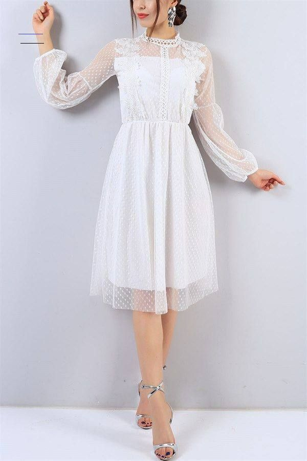 Photo of 64,95 TL White Lace Embroidered Tulle Dress 15726B | The modamızb …