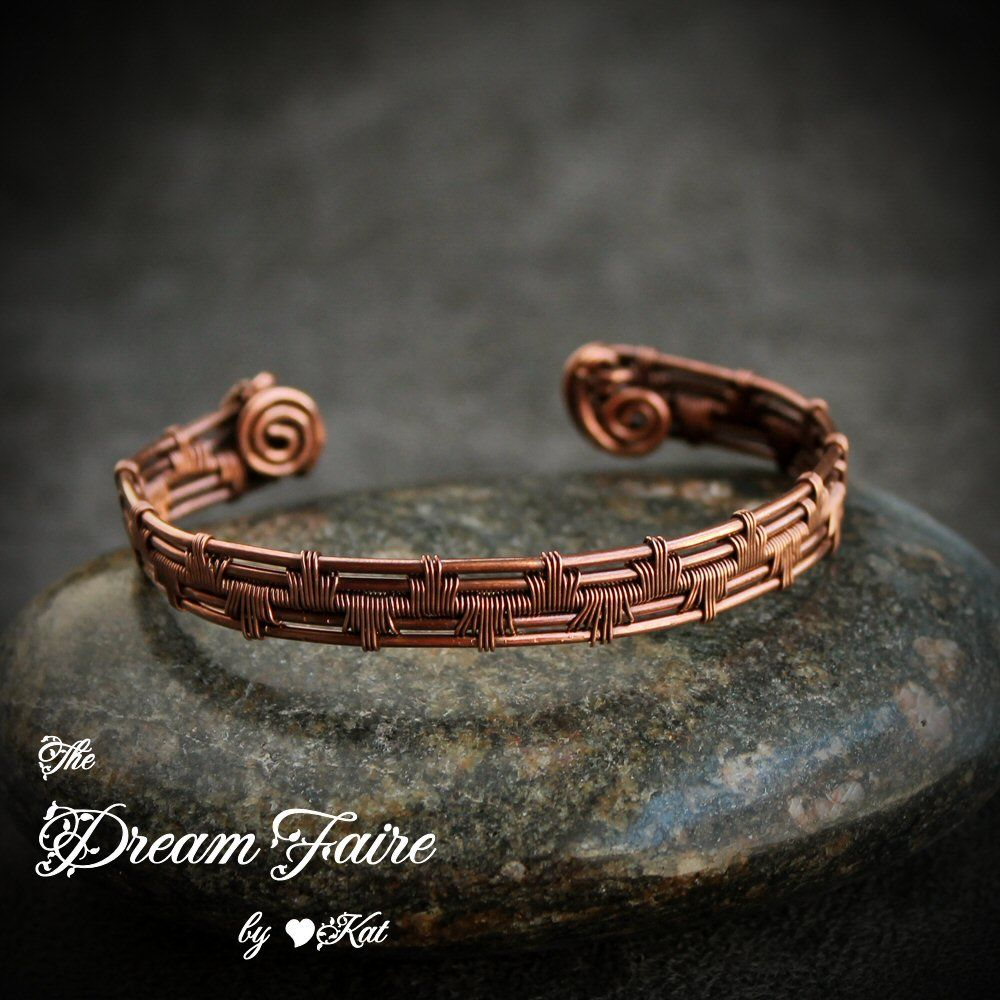Wire Woven Copper Cuff:  A chevron design graces this simple, dainty copper cuff bracelet.