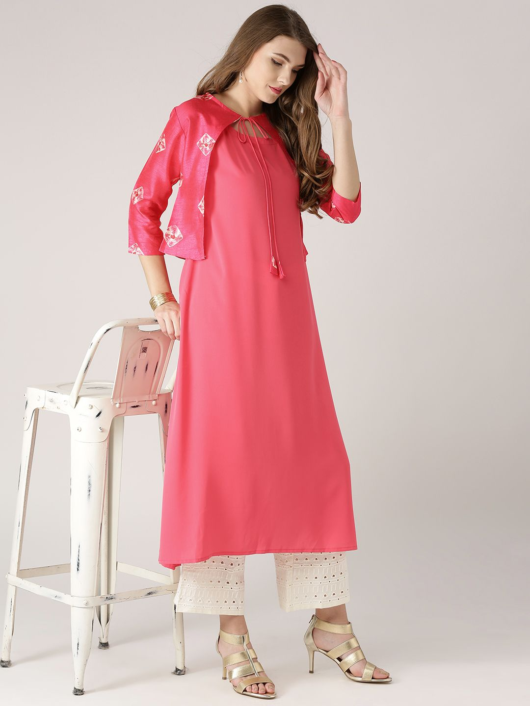 2400a82fc7 Libas Pink Solid A-Line Kurta with Ethnic Jacket | Women's Kurti in ...