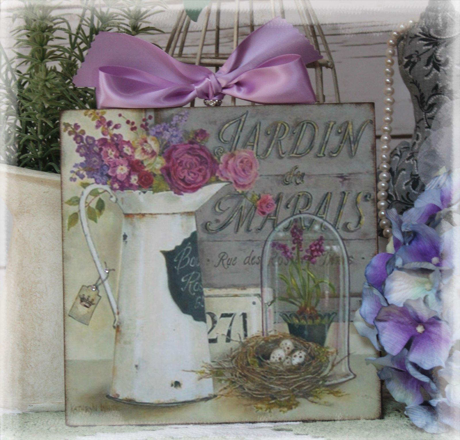"JARDIN "" Shabby Chic Vintage Country Cottage style Wall Decor"