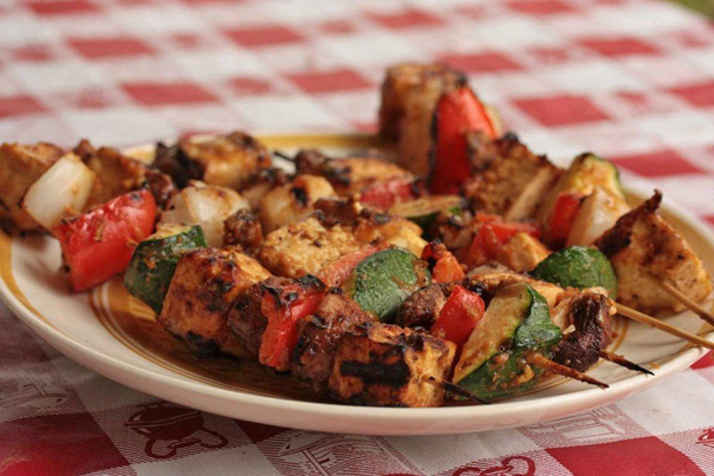Tofu Vegetable Kebabs with Peanut Sauce [Vegan] | One Green Planet