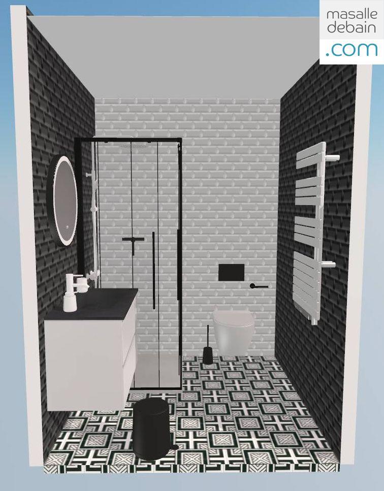 Une Idee De Salle De Bain En Noir Et Blanc Imaginee Avec Une