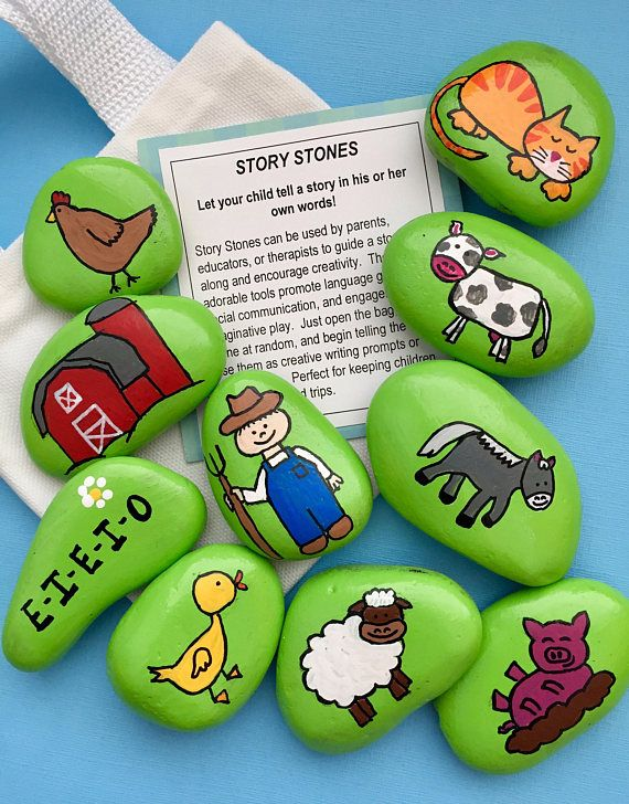 Old MacDonald Had a Farm Story Stones, Early Literacy Tool, Nursery Rhymes, Reading Teacher Gift, Christmas gift, Gift for Kids, Story rocks