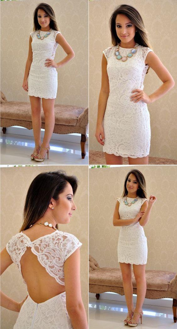 d232e52be480 White Lace Homecoming Dress