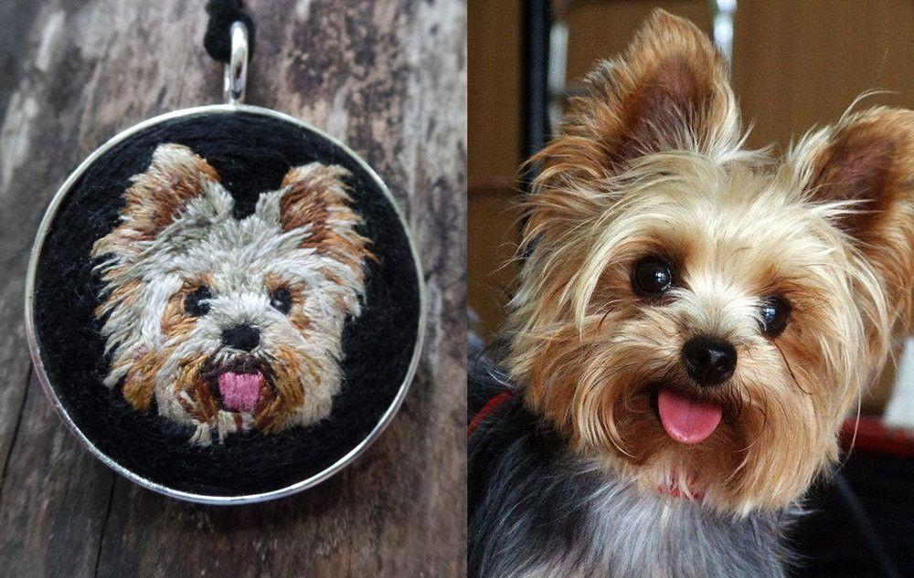 Custom Embroidered Pet Portraits By Kathy Halper Yorkie Dog Milk Yorkie Necklace