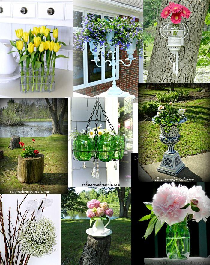 Repurposed Spice Rack Flower Bucket Decor Garden Art