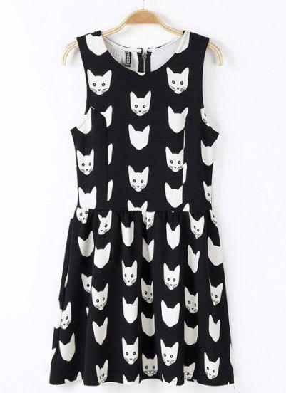 Cat Print Sleeveless A-line Dress - OASAP.com