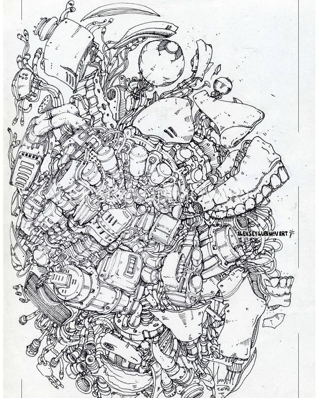 Author Aleksey Lubimov/Robot #алексейлюбимовбиомеханика #алексейлюбимов #стимпанк #дизельпанк #биомеханика #marchofrobots #steampunk #dieselpunk #alekseylubimov_art #biomechanical #lineart