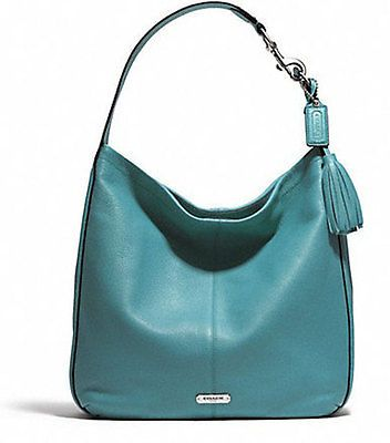 NWT AUTHENTIC COACH Avery Leather Hobo Handbag SV/ Mineral ...