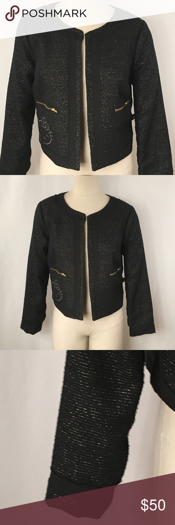 bed139a4b Hello Kitty Jacket Womens Large Black Blazer Hello Kitty Size large Color  black with metallic gold
