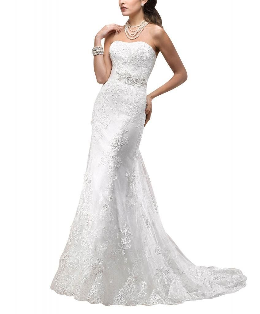 George bride strapless lace over satin court train bridal dress