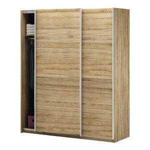 Armoire 2 portes coulissantes en bois Longueur 170 cm SYNTIA ...