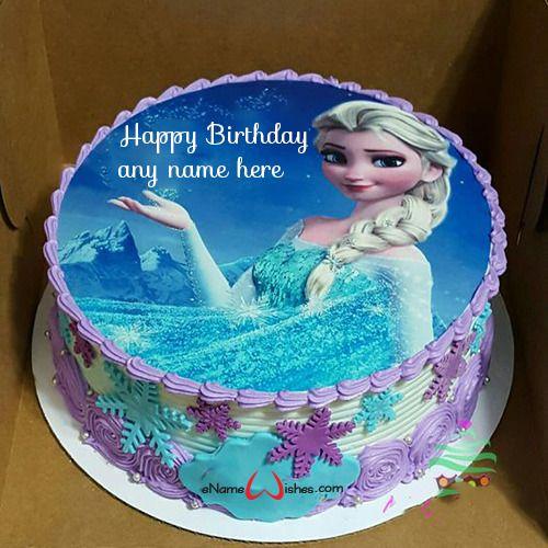 Elsa Frozen Birthday Cake Images with Name - eNameWishes