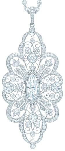 Tiffany & Co diamond pendant.     Image via The Jewellery Editor.