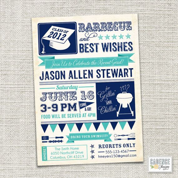 Graduation Party Invitation BBQ PRINTABLE by CadencePaige on Etsy - best of invitation wording ideas for graduation party
