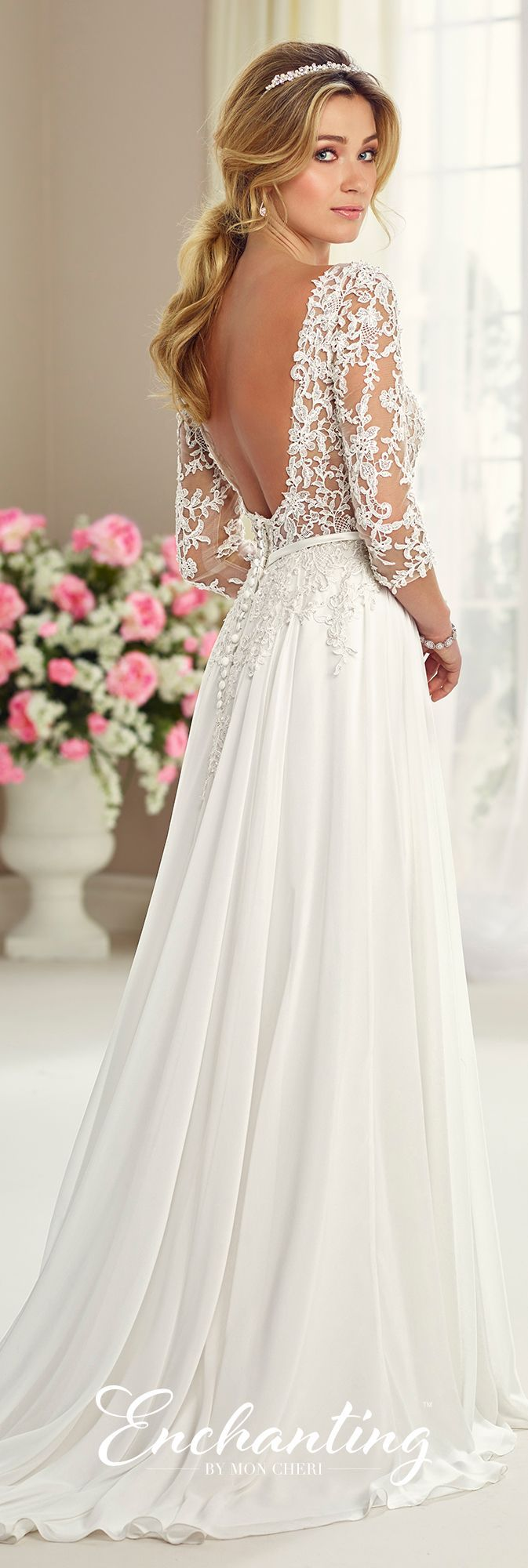 Chiffon tulle lace wedding gown enchanting by mon for Fall lace wedding dresses