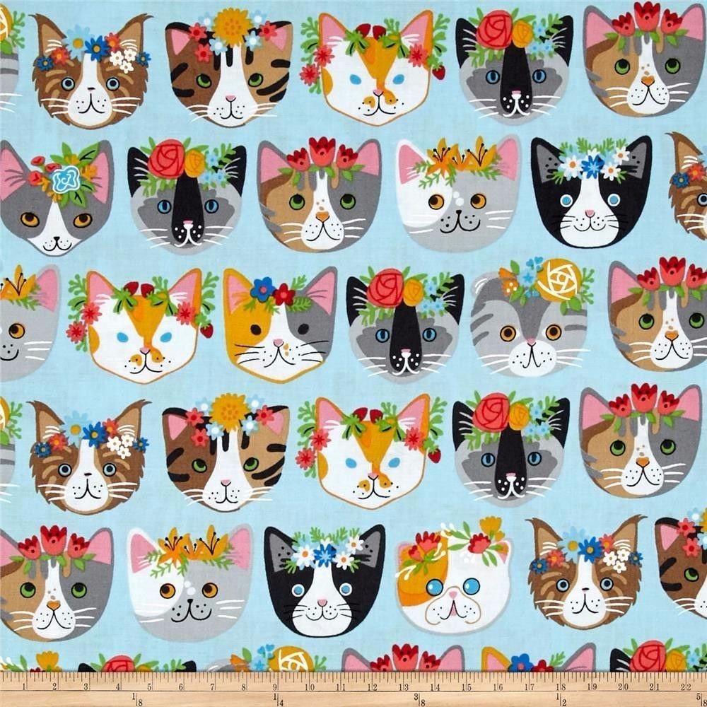 Cat Fabric Whiskers Tails Kitten Blue Flower Crown Robert Kaufman Cotton Fq Cat Fabric Cat Quilt Fabric Animals