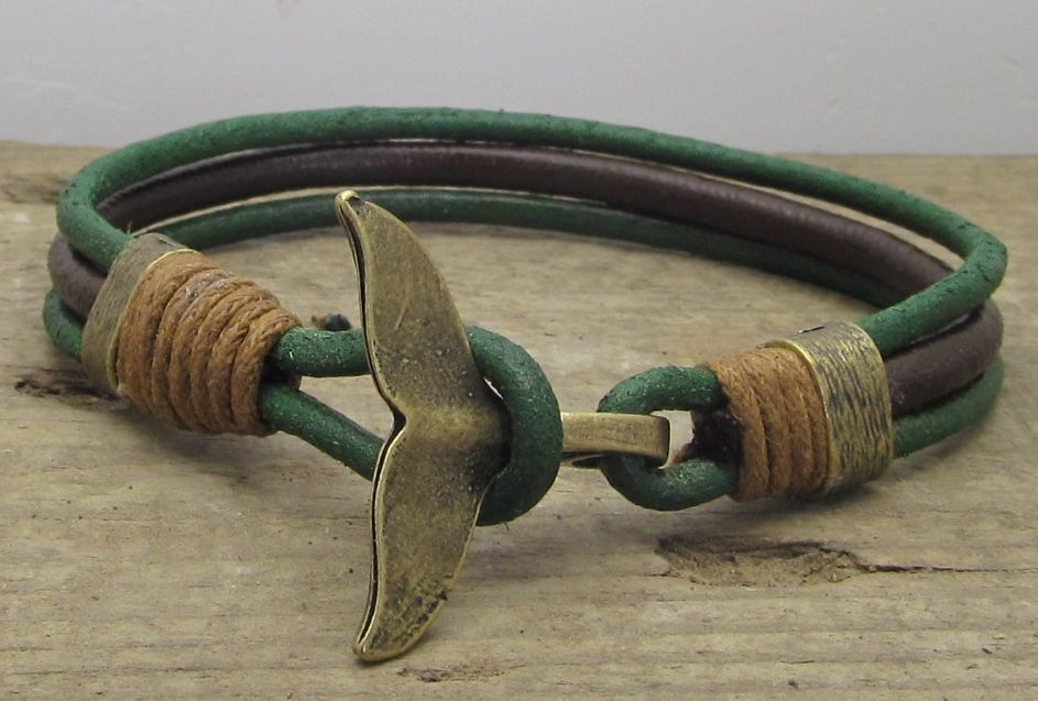Mens leather bracelet. Leather Men. Mens bracelet. leather men. Brown and Green leather bracelet with cooper plated whale tail clasp
