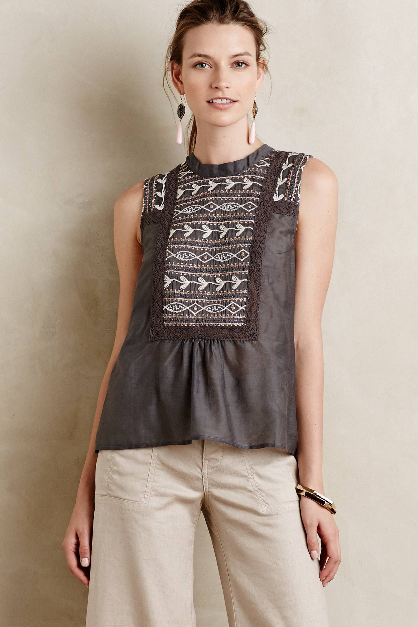 Embroidered Peasant Tank anthropologie