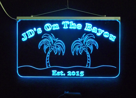 """#PersonalizedBarSign, #mancavesign #3D Engraved, #Edge lit 3/8"""" Clear Acrylic plexiglass, Multicolor changing"""