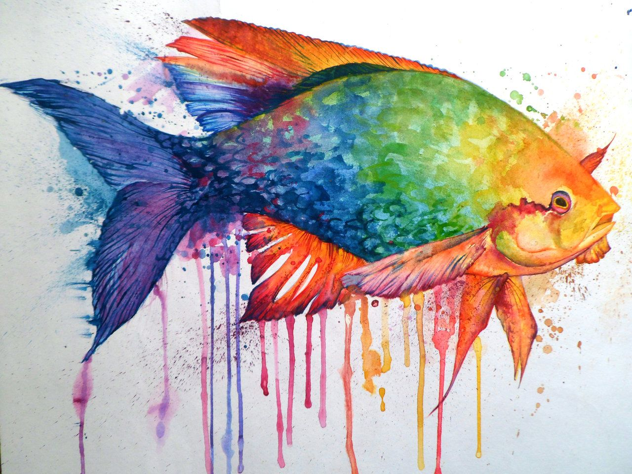 Images for fish paintings abstract painting animals for Watercolor fish painting