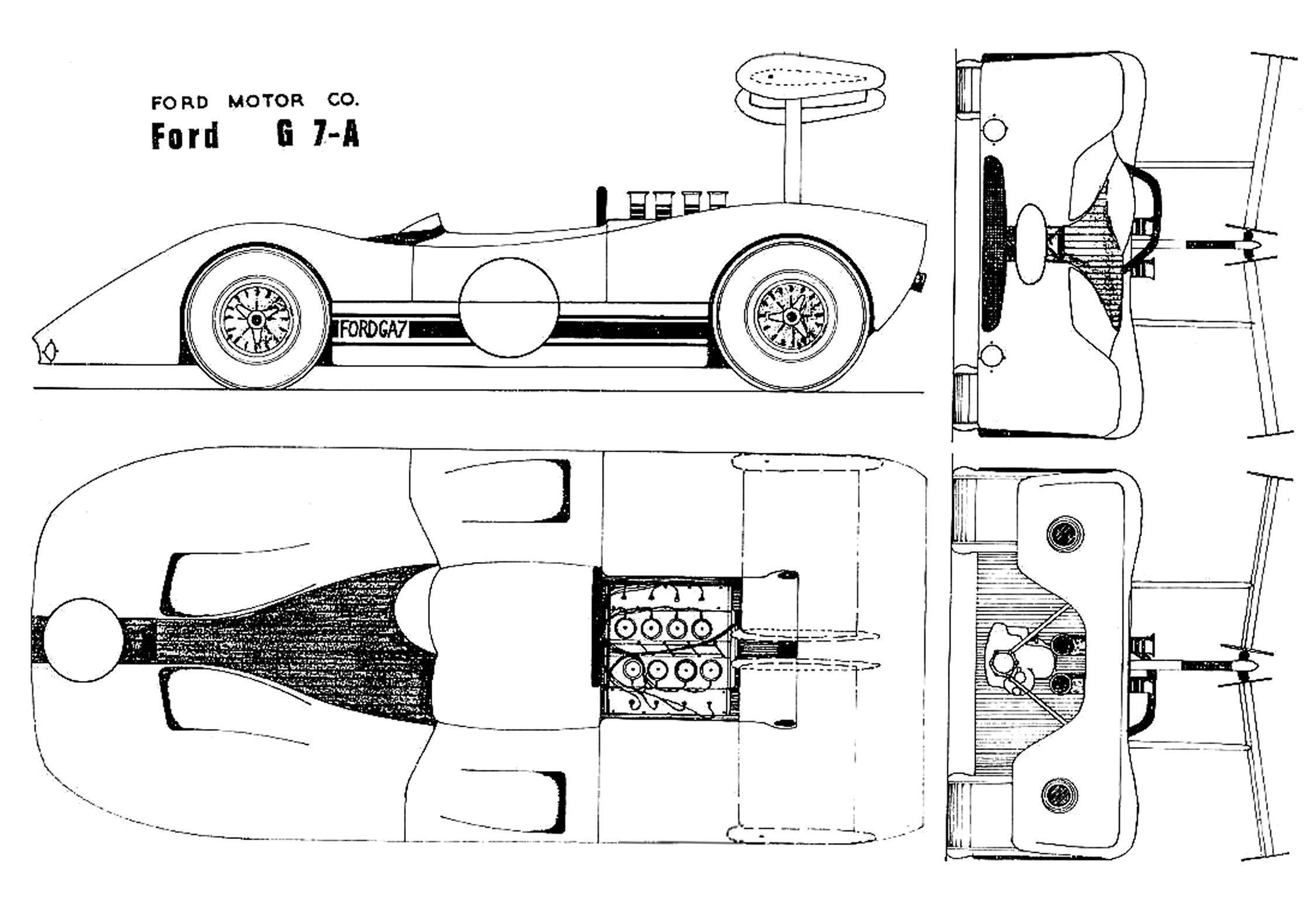 Ford G7A blueprint | Racing Car blueprint | Pinterest | Ford, Sports ...
