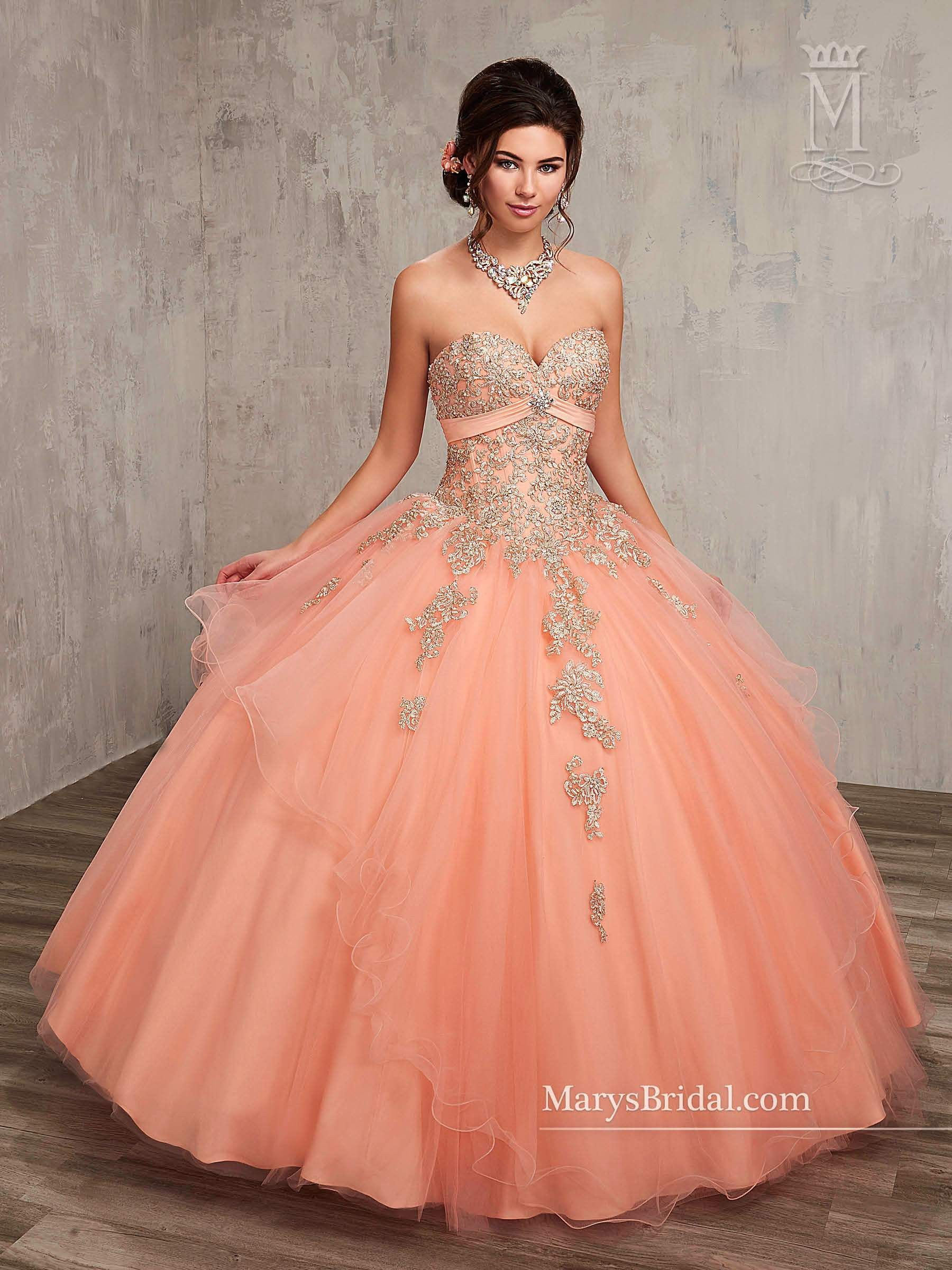 04a9f84337b Beaded Strapless Quinceanera Dress by Mary s Bridal Princess 4Q500 ...