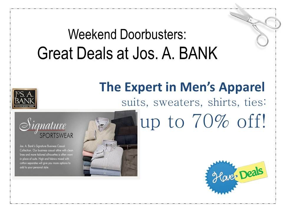 Jos A Bank For Your Guy S Wardrobe Deals Up To 70 This Weekend Savemoney Shopping Hacks Saving Money Shopping