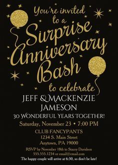 surprise 30th anniversary party invitations black gold balloons this fun festive surprise wedding anniversary party invitation features black background