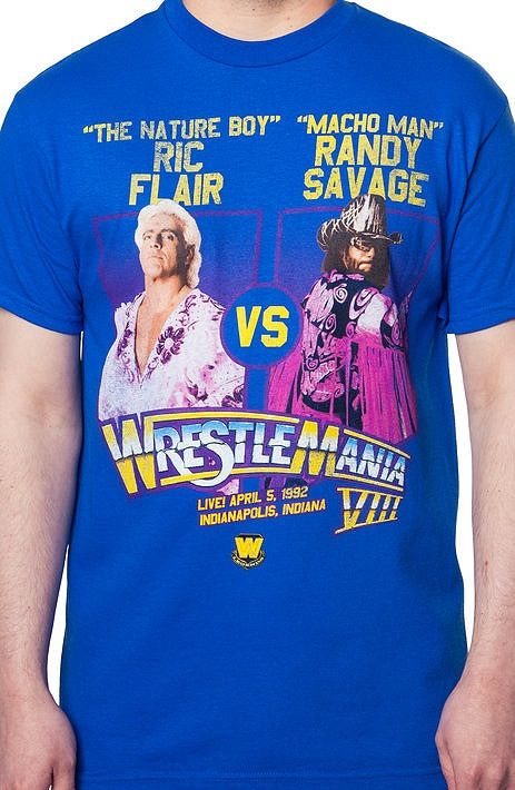 9e76662f7084 Ric Flair Vs Macho Man WrestleMania Shirt Two very popular wrestling  celebrities on a great illustration depicting a major event in sport history .