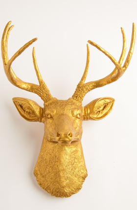 The Franklin | Gold Deer Head | Faux Taxidermy | Gold Resin Deer ...