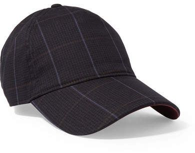 Marilyn Leather-trimmed Checked Cotton-blend Baseball Cap - Navy Rag & Bone 1DsvArd9x