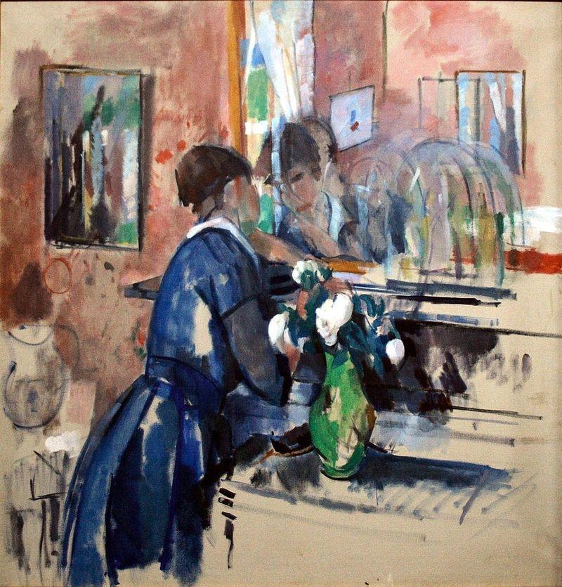 Lady in blue in front of a mirror, 1914, by Hendrik Emil (Rik) Wouters (Belgian, 1882-1916)