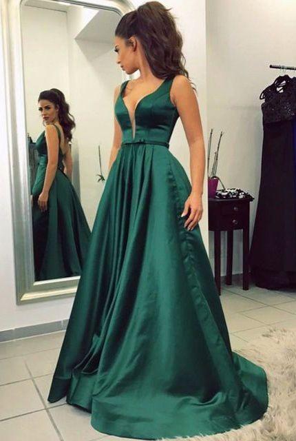 Green Satin Prom Dresses Long Prom Dresses Simple Prom Dresses Cheap Prom Dresses Prom Dress Prom Dresses V Neck Prom Gowns Party Dresses Women Dresses Dr0172 Green Prom Dress Long Dark Green Prom Dress Long Emerald Green Prom Dress