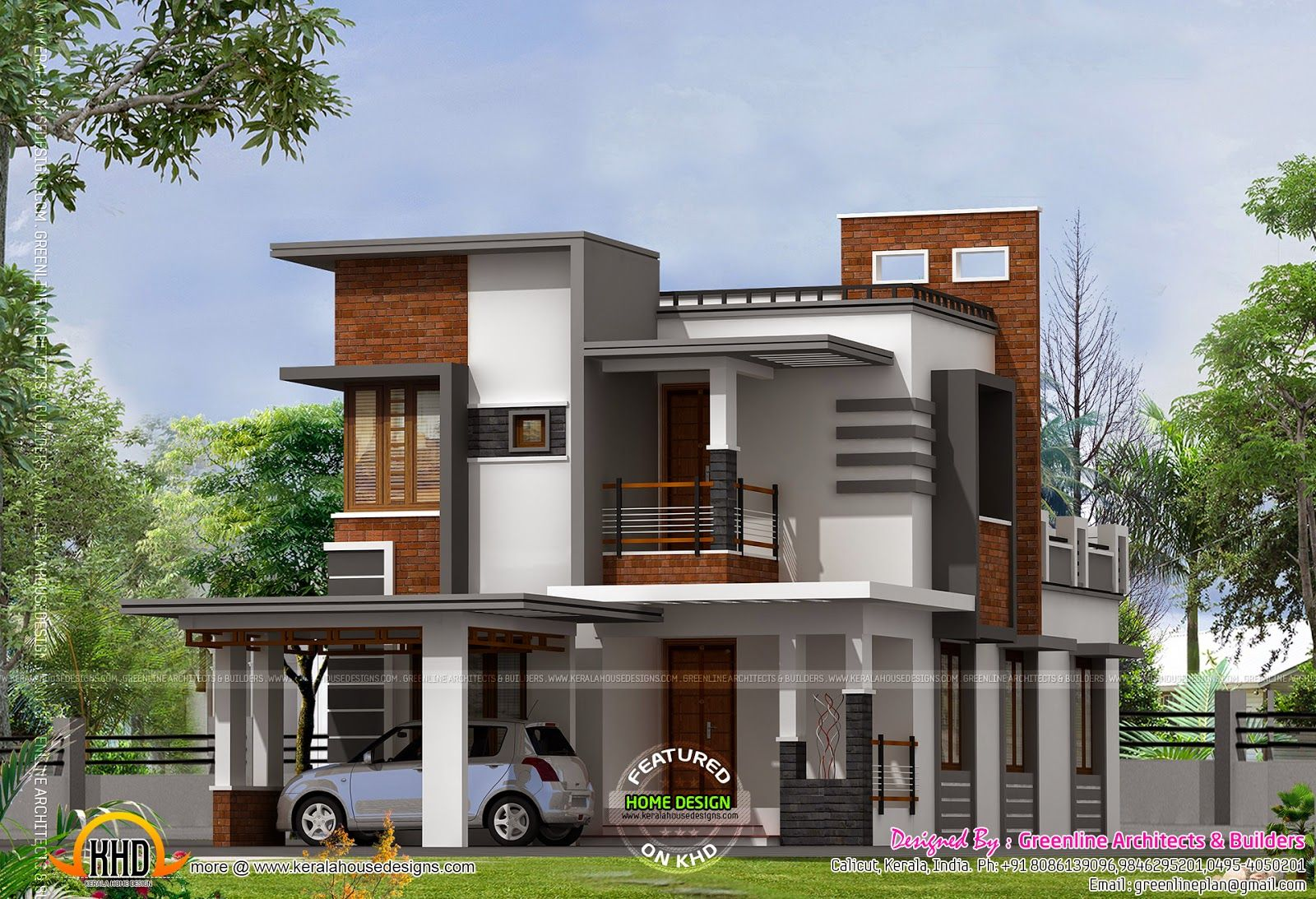 Low cost contemporary house house elevation indian for Elevation of kerala homes
