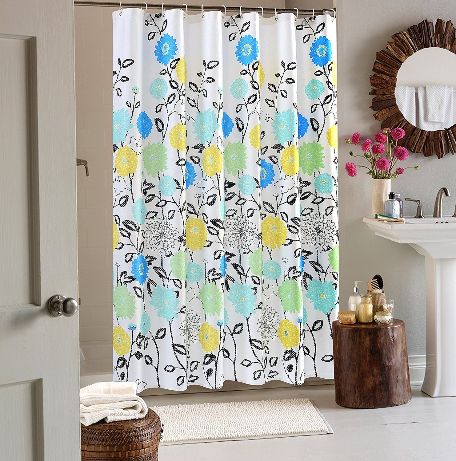 Wimaha Floral Fabric Mildew Resistant Standard Shower Curtain