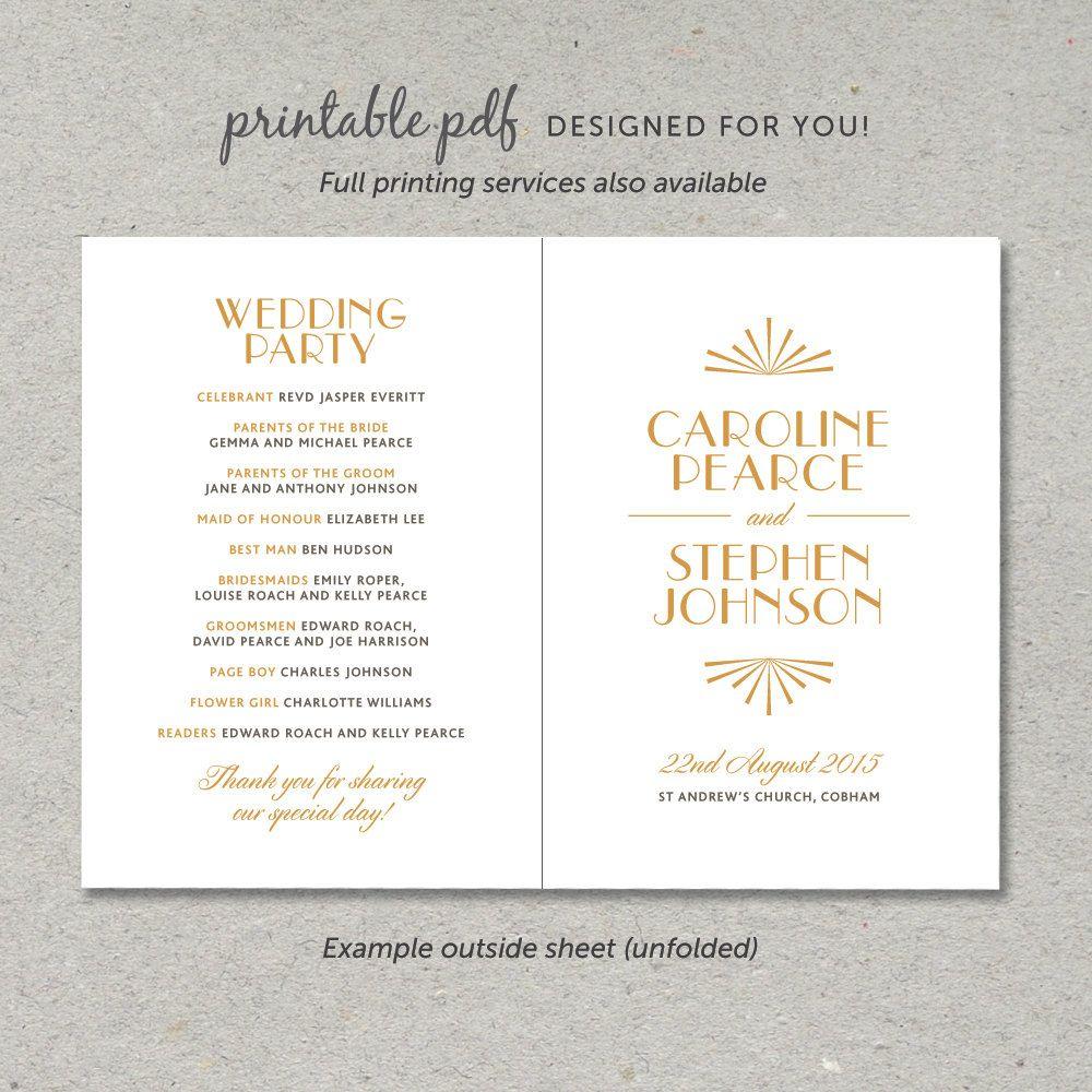 Printable Wedding Program PDF / 'Glamourous Gatsby