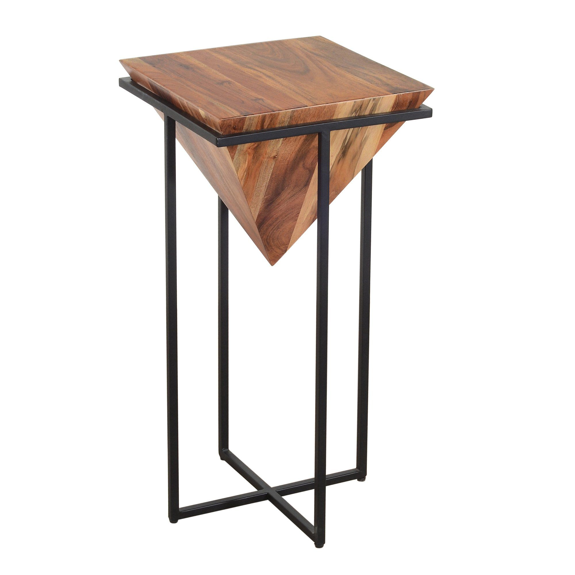30 Inch Pyramid Shape Wooden Side Table With Cross Metal Base Brown And Black In 2020 Wooden Side Table Side Table Wooden