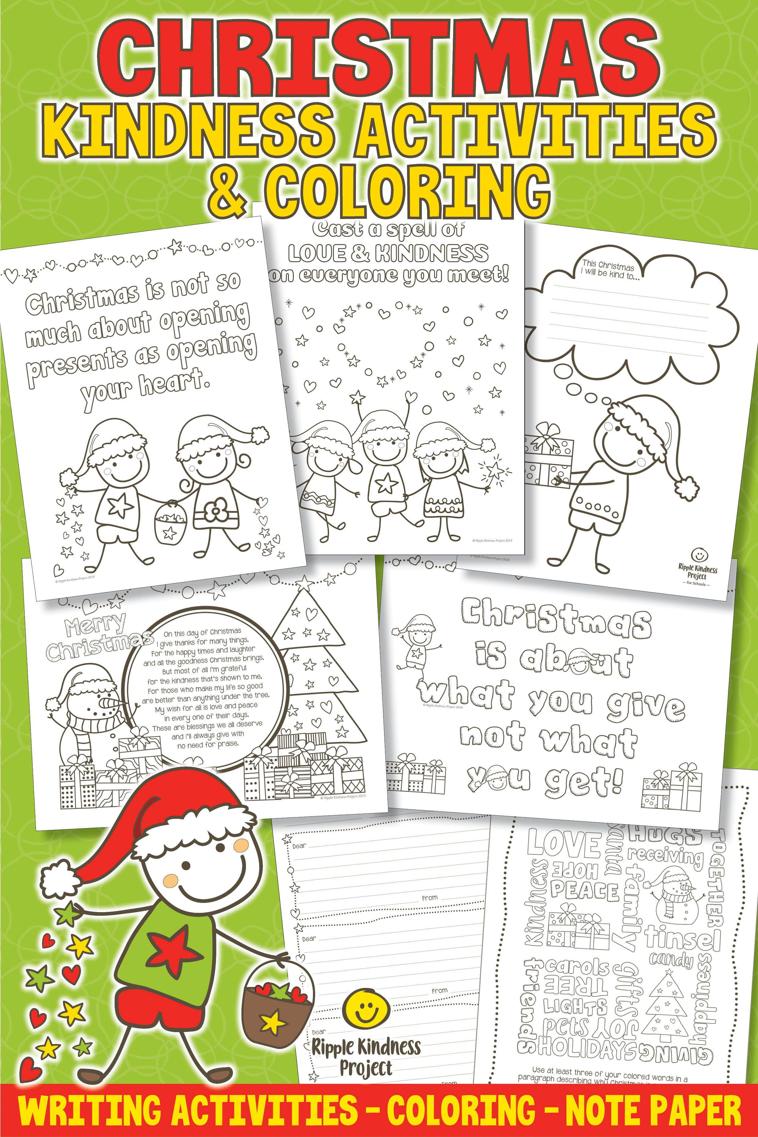 Christmas Kindness Writing Activities Amp Coloring Pages