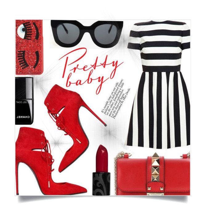 """Red Shoes"" by sonny-m ❤ liked on Polyvore featuring moda, Le Silla, Valentino, Chiara Ferragni, CÉLINE e Chanel"