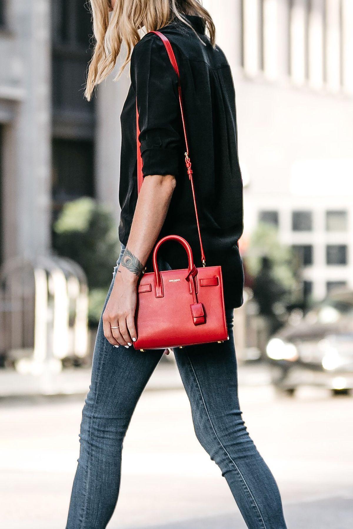 90ebf9de8d6 Saint Laurent Sac de Jour Red Handbag Black Button Up Shirt Denim Skinny  Jeans Fashion Jackson Dallas Blogger Fashion Blogger Street Style