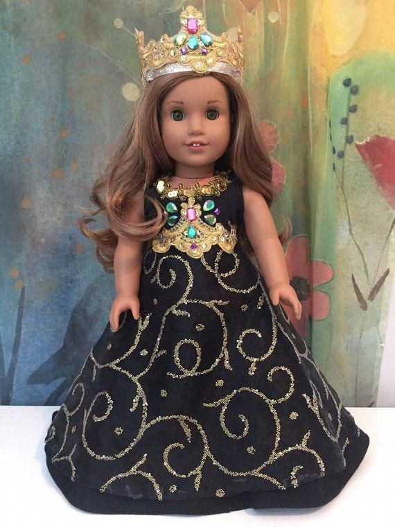 American Girl Custom Ooak Sparkling Black And Gold Princess Outfit